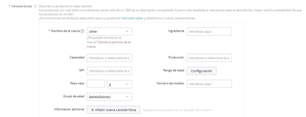 Atributos del producto para posicionar SEO en Aliexpress