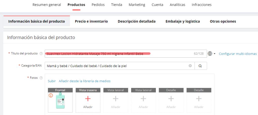 Optimizar el título de un producto en Aliexpress para mejorar el posicionamiento SEO.